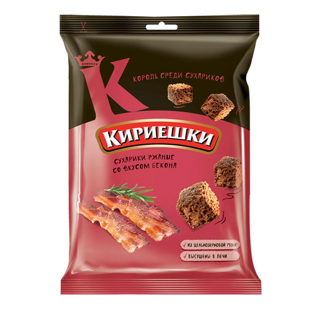 Rye Salted Croutons, Bacon, Kirieshki, 0.22 lb / 100 g