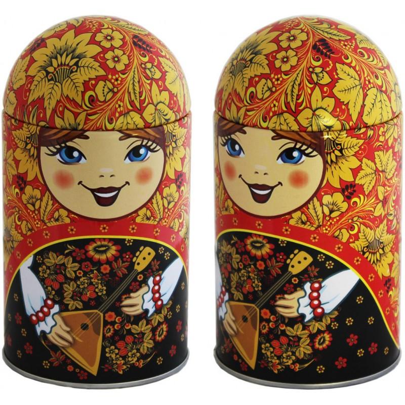 Black Classic Gift Tea in Matryoshka Doll - Balalaika, Rubin, 1.4 oz / 40 g