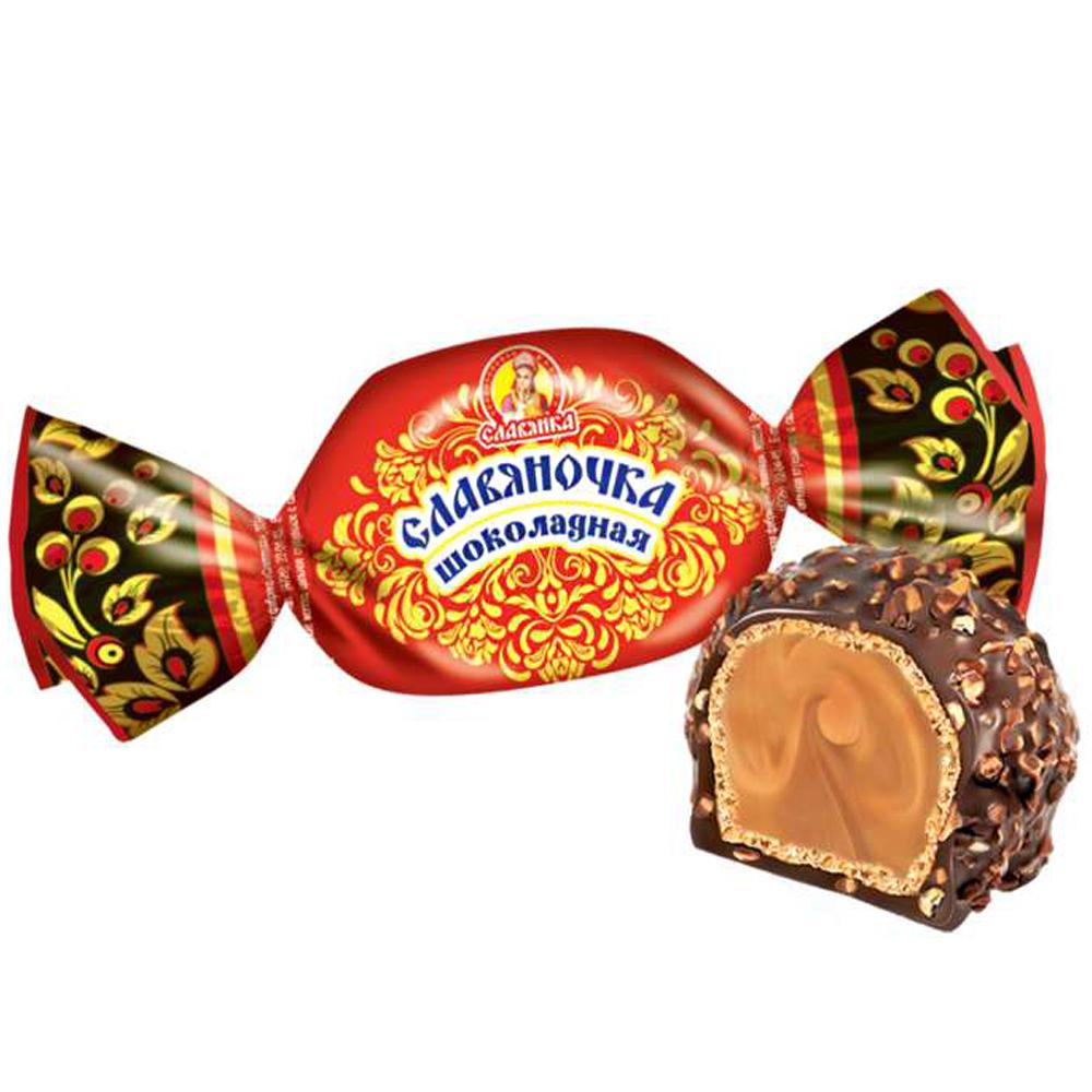 Slavyanochka Candy Chocolate Cream & Crushed Nuts, Slavyanka, 0.5lb/ 226g