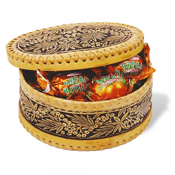 Chocolate candies with Dried Apricots in birch bark Box, 300 g