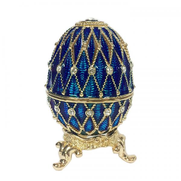 """Russian Style Egg Golden Mesh Pattern with Rhinestones (2 rows) BLUE, 1.5"""" (HE300-2)"""