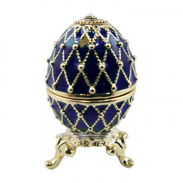 Easter gift Mini Egg Box with Golden Mesh Pattern (blue), 3.5 cm (HEBS-300-2)