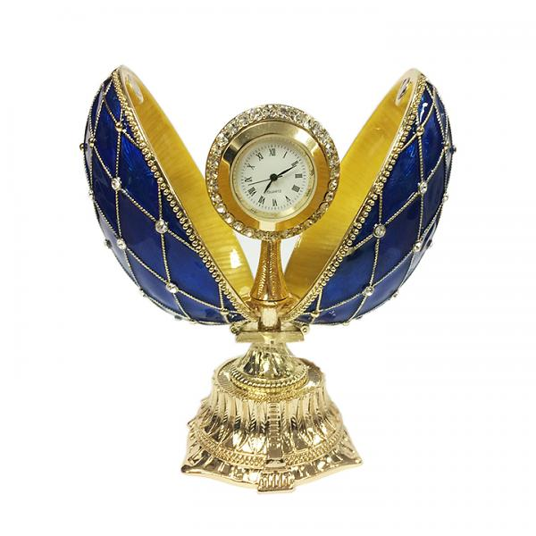 "Egg Box with the Clock Decorated with Mesh Pattern and Crystals (blue), 4.5"" / 11 cm (HJD0777-3+HF001)"
