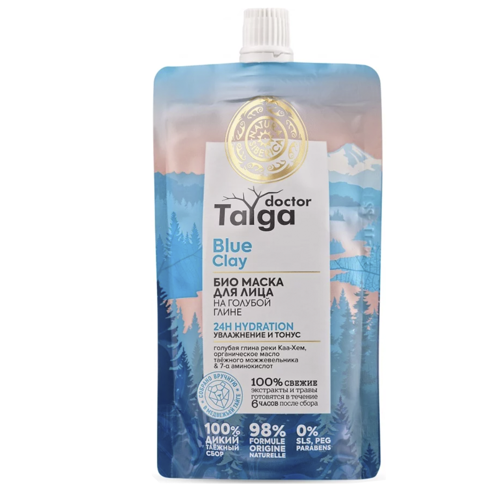 Bio Face Mask 24H HYDRATION Hydration & Tone, Blue Clay, Doctor Taiga, 100 ml / 3.38 oz