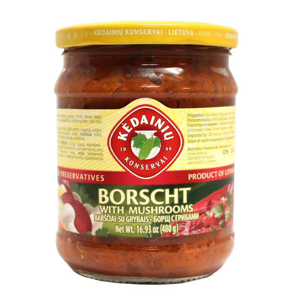 Borscht with Mushrooms (Glass Jar), Kedainiu, 480 g