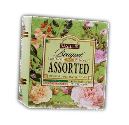 "Basilur Exclusive Collection of Green Tea ""Bouquet"" Assorted, 32 Bags"