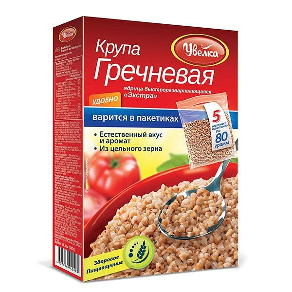 Uvelka Buckwheat Groats 5x80 Boil-in-Bags, 14.10 oz/ 400 g