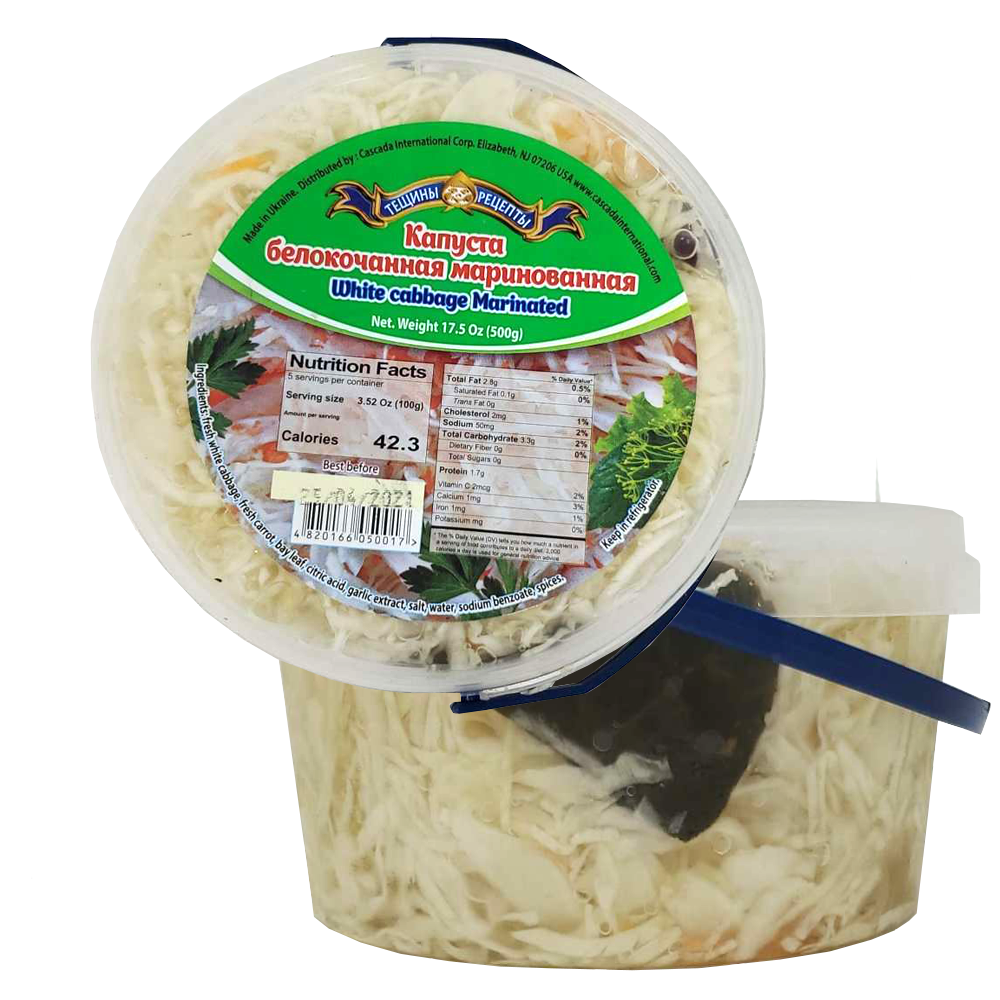 Pickled White Cabbage, Tescha's Recipes, 500 g / 1.1 lb