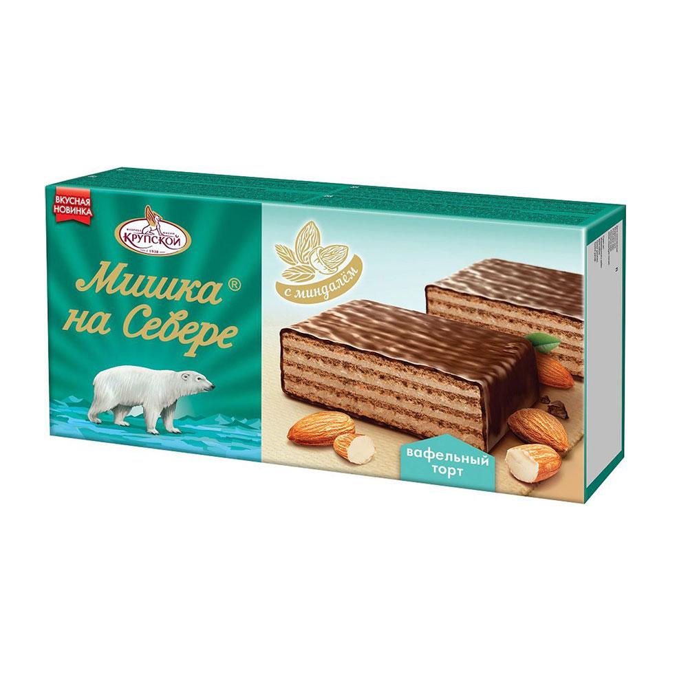 Chocolate waffle cake with almond