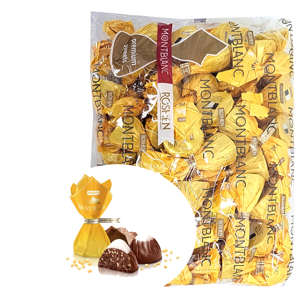 Chocolate Candies with Sesame Mont Blanc, Roshen, 1 kg/ 2.2 lbs