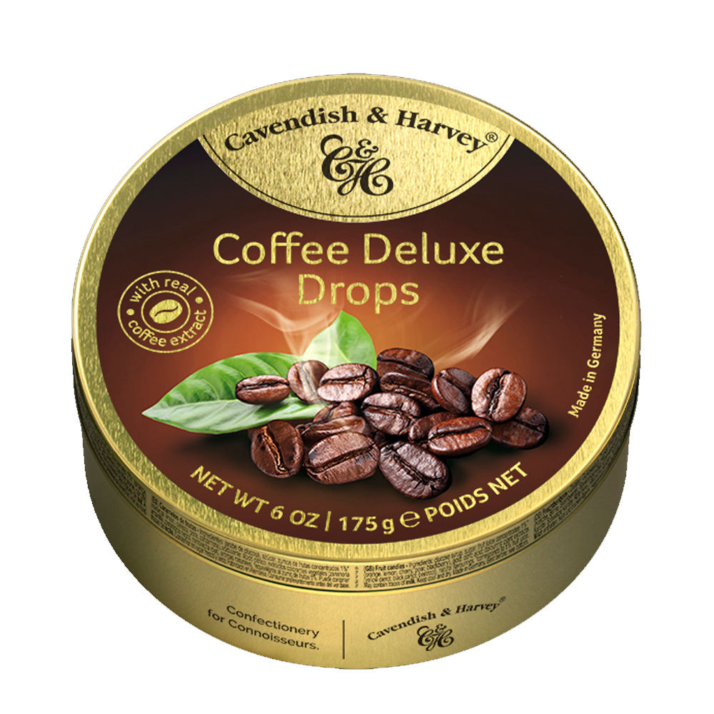 Hard Candy Drops Coffee Deluxe, Cavendish and Harvey, Tin Can, 175g/ 0.39 lb