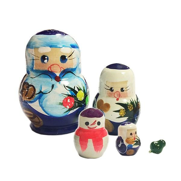"""Handmade Father Frost Nesting Doll (Blue), 5 dolls, 2"""""""