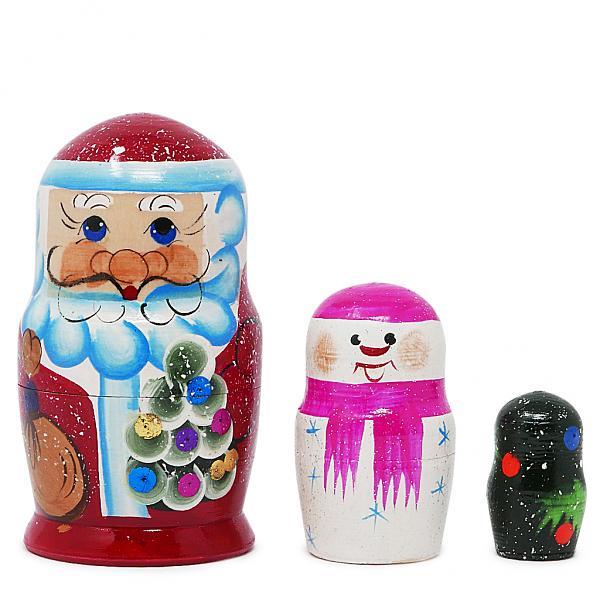 "New Year Matryoshka - Santa Claus/Father Frost Russian Traditional Nesting Doll, 3 pcs, 4"""
