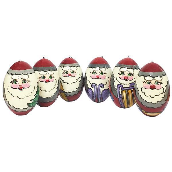 "Jolly Santa Clauses Handmade Wooden Christmas Ornaments, 6 pcs, 2"""