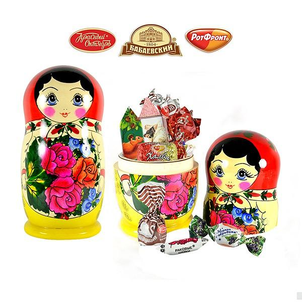 A large wooden matryoshka chocolates and candies inside 2Lb