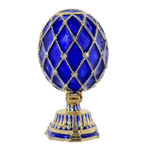"""Russian Style Egg with The Church of the Savior on Spilled Blood BLUE, 2.6"""" / 6.7 cm (JD0897A-3+JF1870)"""