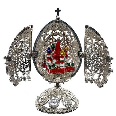 """Openwork Silver Egg with a Miniature of Saint Basil's Cathedral, 2.5"""" / 7 cm (JD0947-1+JF1871-1)"""