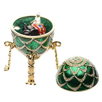 "Russian Style Egg Trinket Box Pine Cone with an Elephant, 3.25"" / 8.5 cm (WS-JB81502J3)"