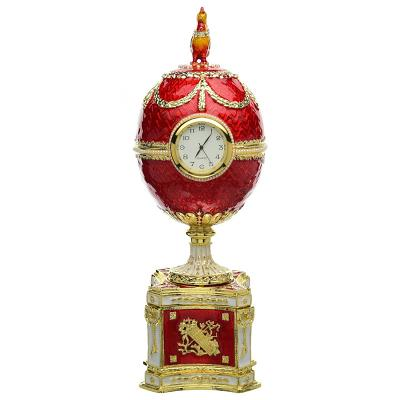 "Russian Style Egg Trinket Box with Clock and Chicken RED, 6"" / 15 cm (WS-JB90593K1)"