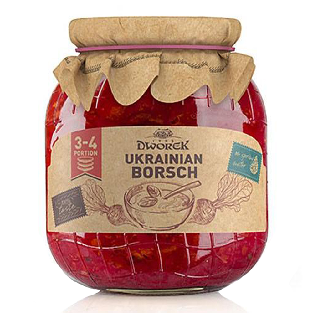 Red Borscht (Red Soup) in Glass Jar, 24.34 oz / 720 Ml