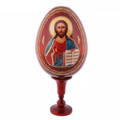 "Easter Gift ""Christ Almighty"" Russian Icon Large Wooden Easter Egg, 5"" (14 cm)"