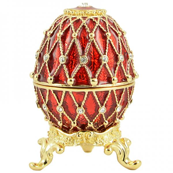 "Easter Gift Russian Style Easter Egg Trinket Box (5 rows of rhinestones) RED, 2.5"" / 6.5 cm (HJD1036B)"