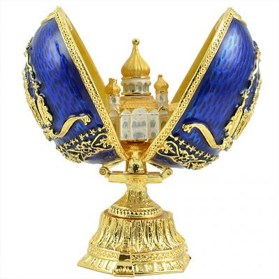 """Russian Style Egg with Cathedral of Christ the Saviour BLUE, 3.5"""" / 9 cm (JD1301-3+SF2108)"""