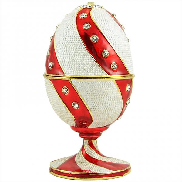 "Easter Gift Russian Style Easter Egg Trinket Box with Twisted Pattern and Large Crystals RED & WHITE, 4"" / 10 cm (WS-JB80961J1)"