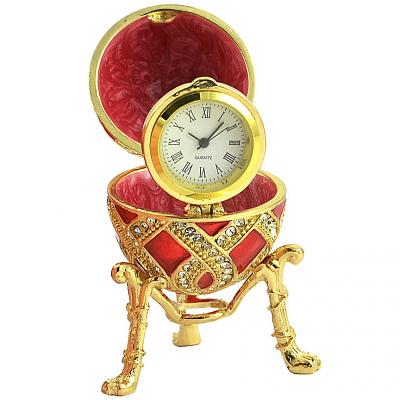 """Russian Style Egg with Weaving Golden Pattern and a Clock (red), 2.8"""" / 7 cm (WS-JB90695K1-C)"""