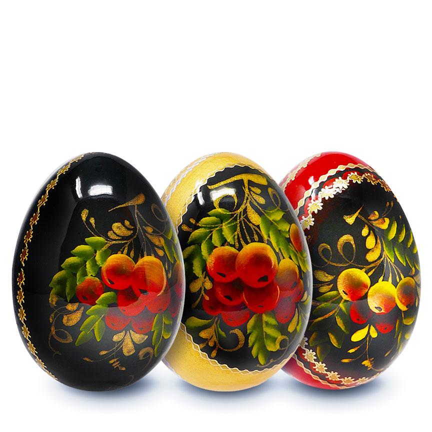 Souvenir Wooden Egg Zhostovo pattern 1pc