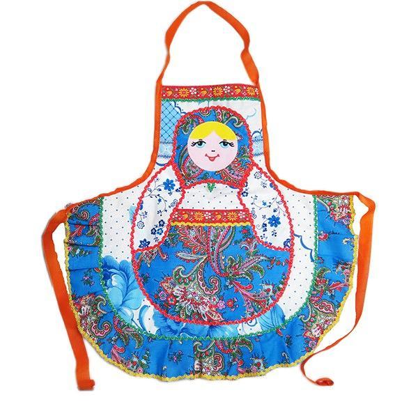 Russian Style Apron/ Patterned Handmade with Matryoshka