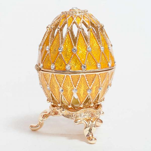 """Faberge Openwork Egg Box with Mesh Pattern GOLDEN, 2"""" / 5 cm (JD1052-5)"""