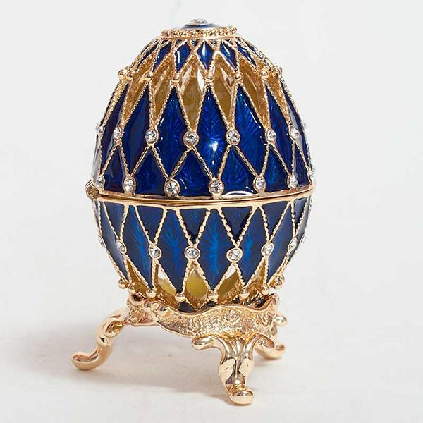 "Openwork Russian Style Egg with Crystals (2 rows) BLUE, H 2.25"" (HJD1052-3)"