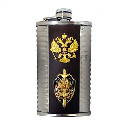"Russian Federation Coast of Arms Souvenir Flask, 6 oz / 177 ml (5"" / 13 cm)"