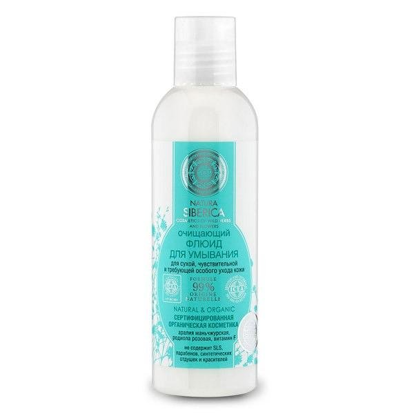 NATURAL & ORGANIC Cleaning Washing Face Fluid for Dry and Sensitive Skin, 5.07 oz/ 150 Ml