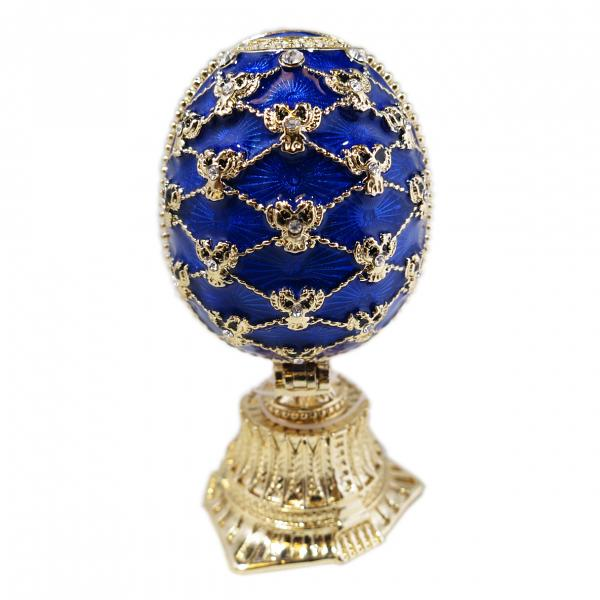 "Easter Gift Russian Style Easter Egg with a Miniature of The Church of the Savior on Spilled Blood BLUE, 2.5"" / 6.5 cm (HJD0869-3+JF1870)"
