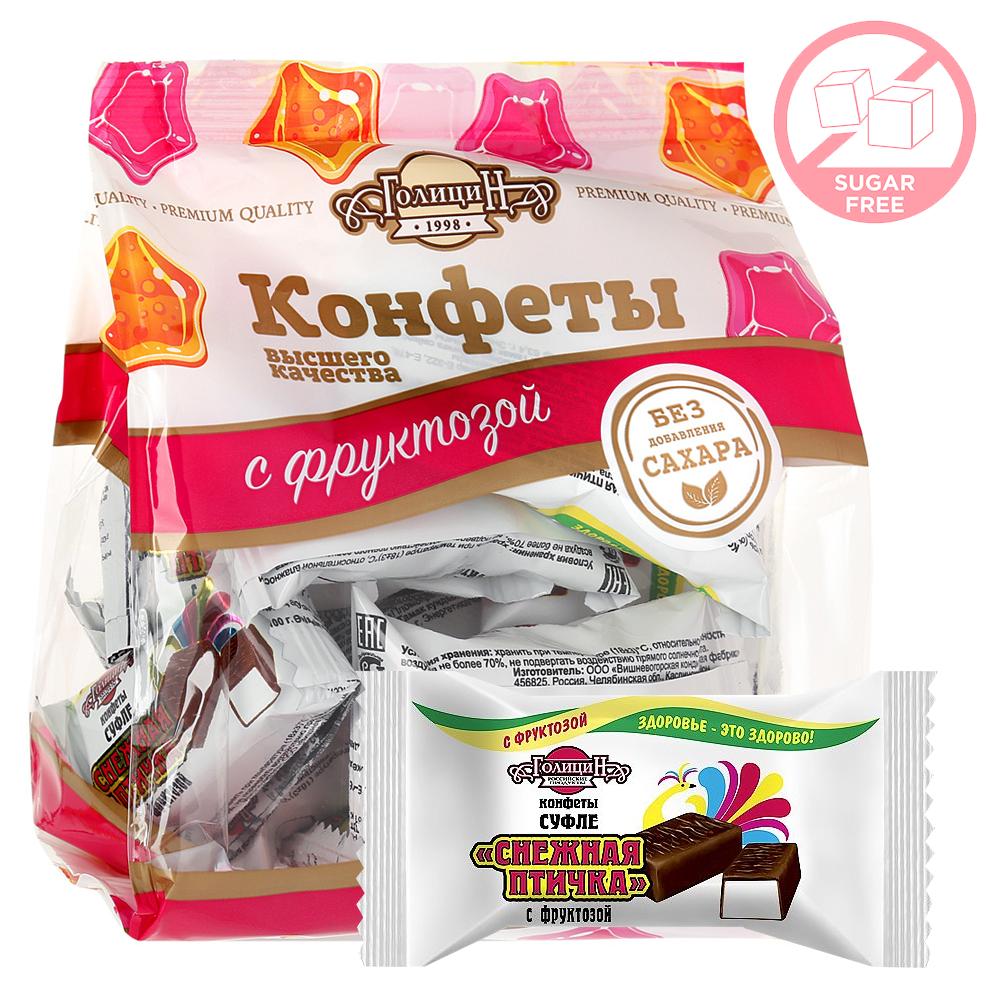 Candy-Souffle Sugar Free Chocolate Glazed, Snow Bird, Golitsyn, 180g/ 0.4 lb