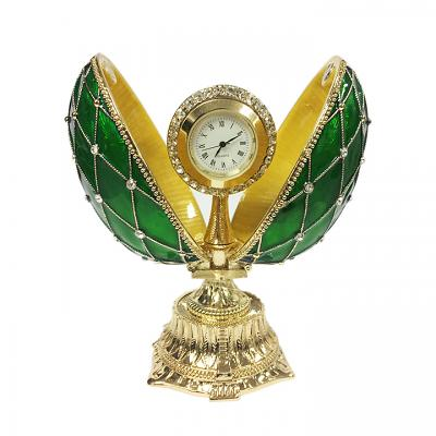 """Egg Box with the Clock Decorated with Mesh Pattern and Crystals (green), 4.5"""" / 11 cm (HJD0777-4+HF001)"""