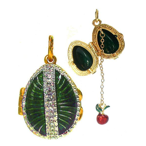 "Locket Pendant Sunduchok (green), 1"" (1214-3403)"