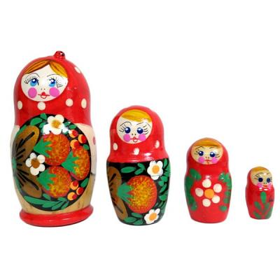 4 Nested Matreshka Dolls, Classic Design Green-Red 105mm/4""