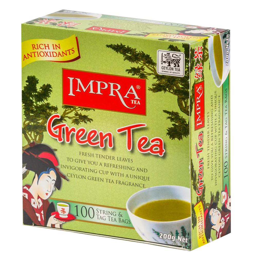 Impra Green Tea, 100 Enveloped Tea Bags