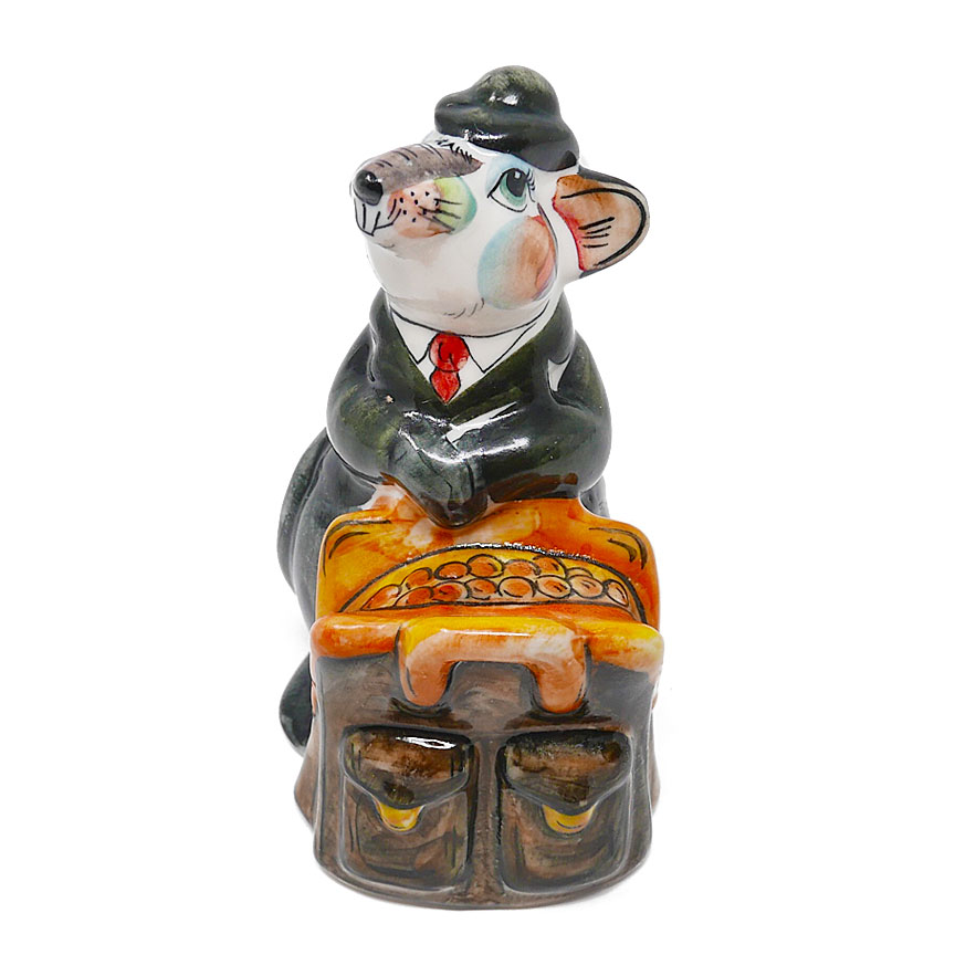Symbol of the Year 2020 Rat Treasurer Gzhel Porcelain Hand painted, 5.2''