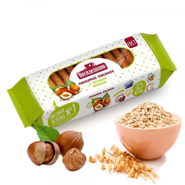 Posidelkino Oatmeal Cookies w/ Hazelnut, 10.58 oz / 300 g