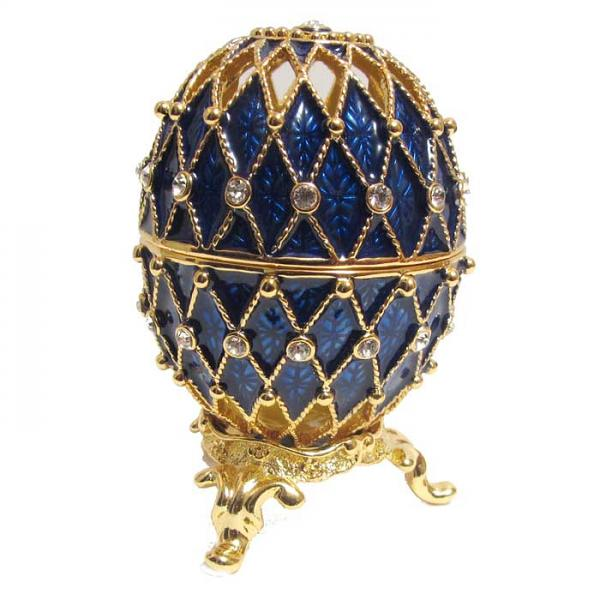 Mini Russian Style Egg Golden Mesh Pattern (BLUE), 1.5
