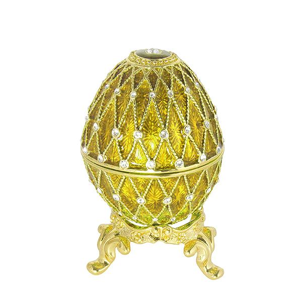 "Mini Russian Style Egg Golden Mesh Pattern with Rhinestones (3 rows) GOLDEN, 1.5"" (HE300-10)"