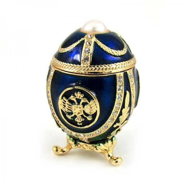"Small Faberge Style Egg ""Eagle with a Pearl"" (blue), 2"" / 4.5 cm (HJD1037A-3)"