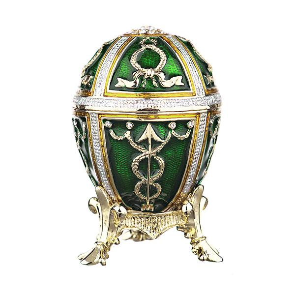 "Easter Gift Russian Style Easter Egg Trinket Box with Arrows GREEN, 2.5"" (HJD0899A-4)"