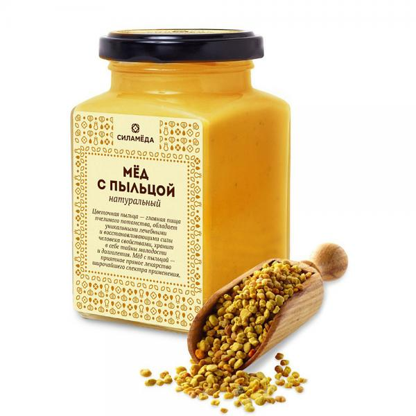 Natural honey with flower pollen 300gr