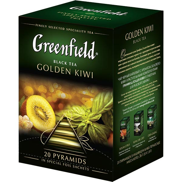 "Greenfield ""Golden Kiwi"" Black Tea, 20 Tea Bags"