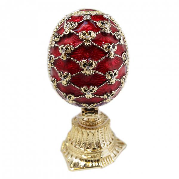 "Faberge Style Easter Egg with a Miniature of The Church of the Savior on Spilled Blood RED, 2.5"" / 6.5 cm (HJD0869+JF1870)"